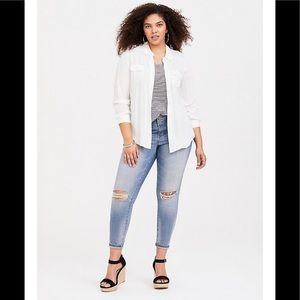 Torrid White & Blue striped blouse